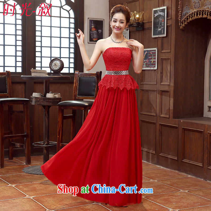 Syria Time spring 2015 summer new Korean wiped chest lace beauty graphics thin bridal wedding dress red tie dress long red XXL