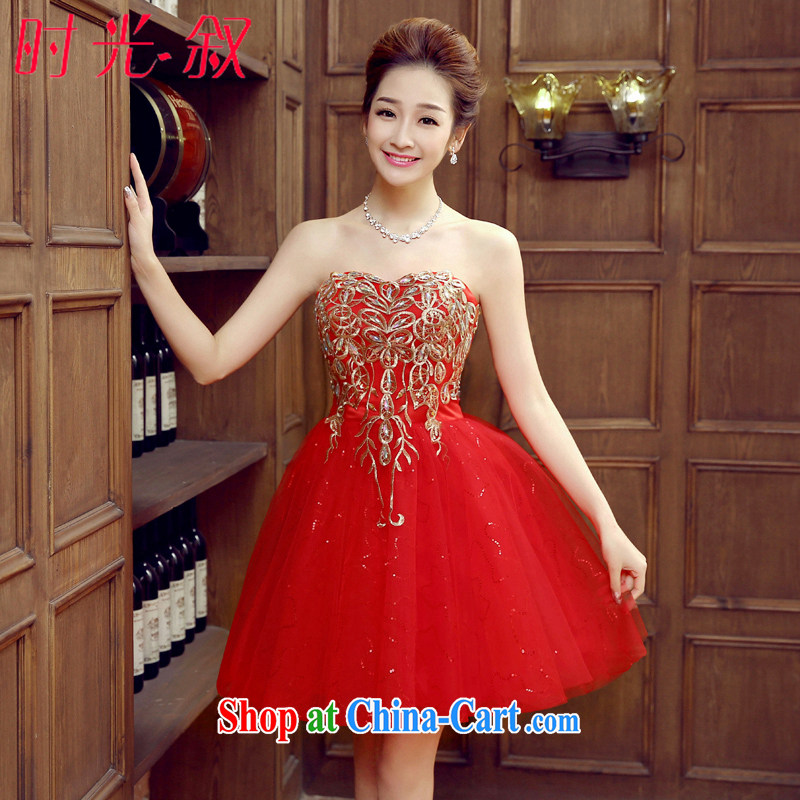 Syria Time marriages, short bows service 2015 spring and summer, Korean lace bare chest small dress the banquet red evening dress Car Show dress red XL