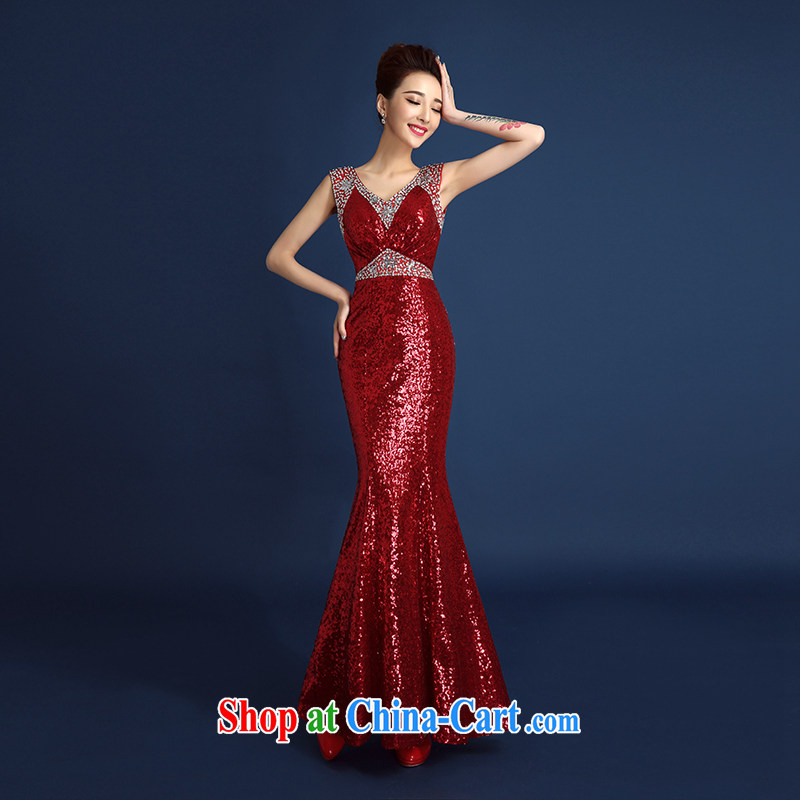Red bridal toast serving evening dress 2015 new, luxurious, elegant and sexy shoulders at Merlion dress car models serving the people serving red L