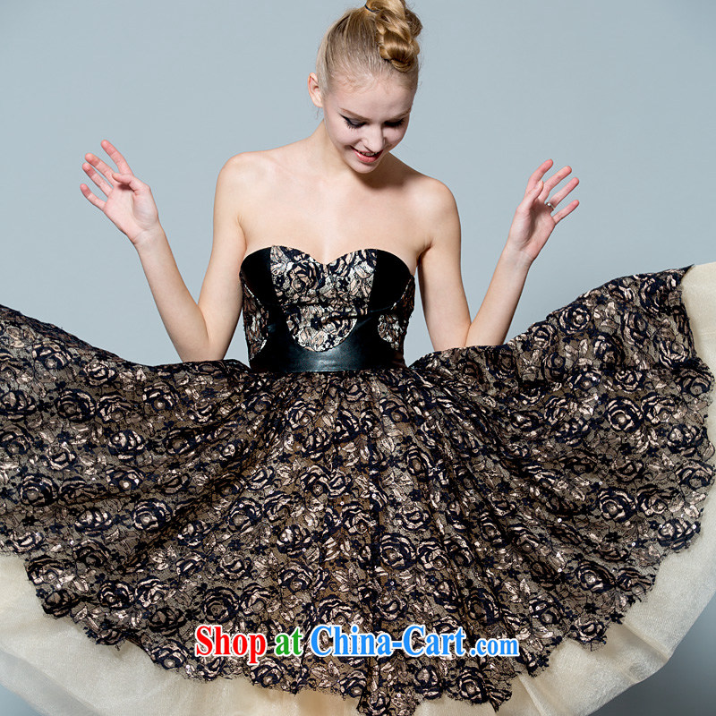 A yarn wedding dresses 2014 spring and summer new lace bare chest ballroom dance dress skirt 30230848 black L stock code 165 /88 A
