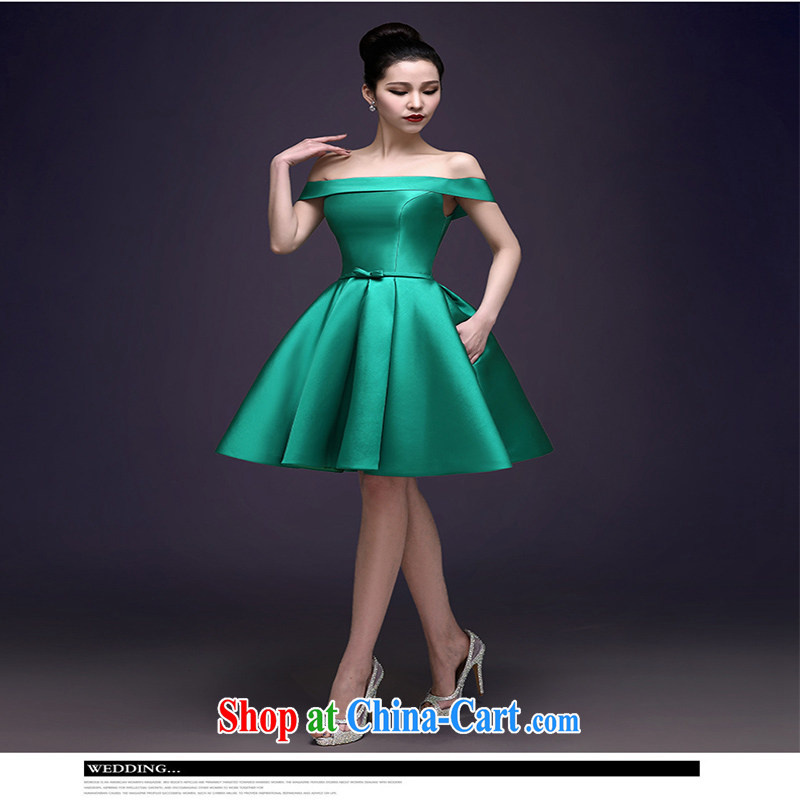 2015 spring and summer New Green high quality Evening Dress stylish field shoulder banquet dress party dress girl short green XXL