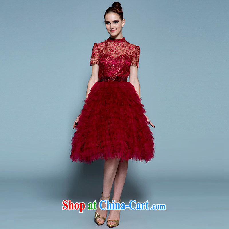 A yarn 2015 new short wedding dress high waist red pregnant bride small dress, Japan and the Republic of Korea, Mr Ronald ARCULLI toast 20220677 serving wine red back is not exposed XL spot 165 /92 A