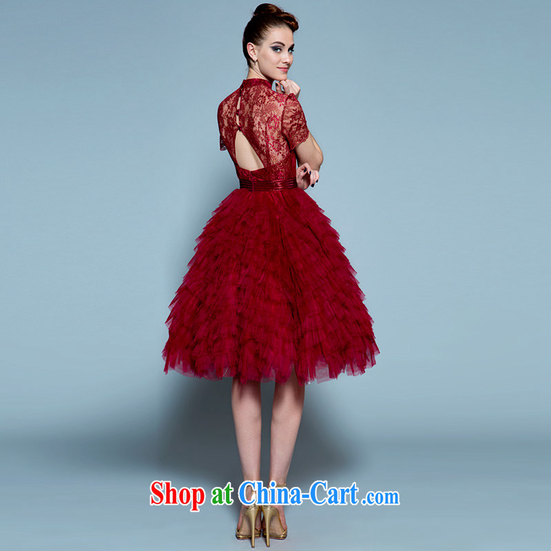 A yarn 2015 new short wedding dress high waist red pregnant bride ...