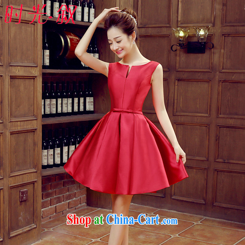 Time SYRIAN ARAB banquet dress 2015 new dual-shoulder short version won the small dress bridal dresses wedding toast clothing spring and summer wine red M