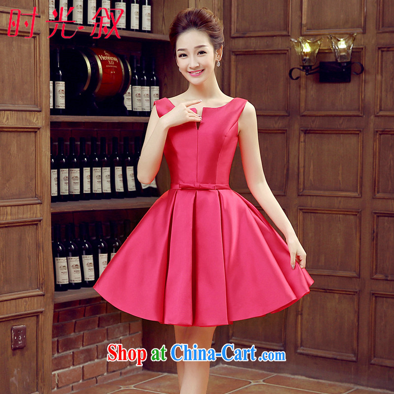 Time SYRIAN ARAB banquet dress 2015 spring and summer new dual-shoulder short version won the small dress bridal dresses wedding toast served by the red red M