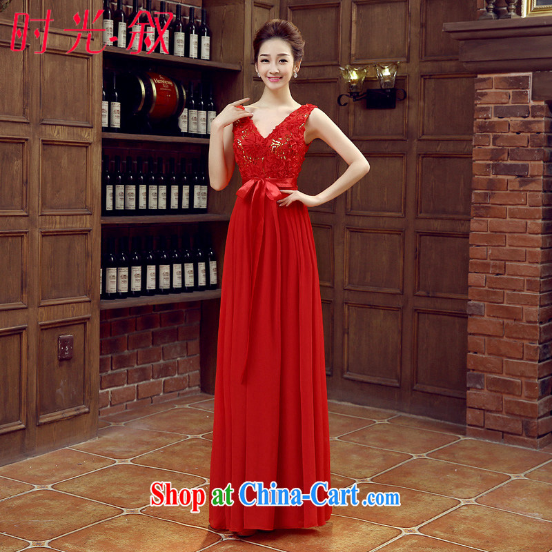 Syria Time 2015 New Red marriage V collar dress wedding dresses long bridal dress uniform toast the code mm thick graphics thin red XXL