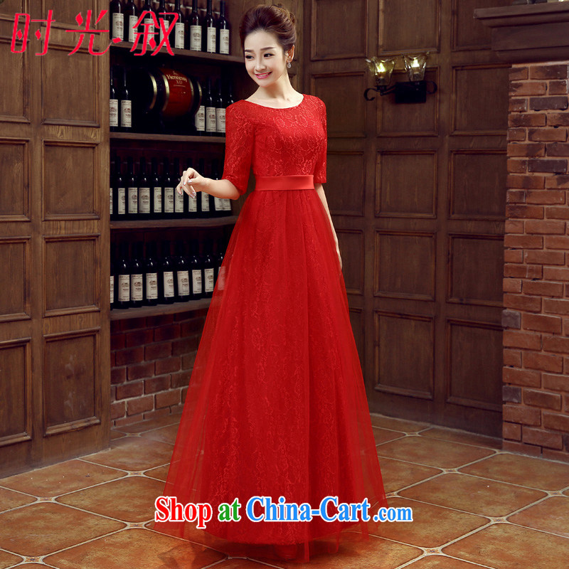 Syria Time 2015 new round collar cuff red long lace straps wedding dresses bridal toast clothing dress dress spring and summer red XXL
