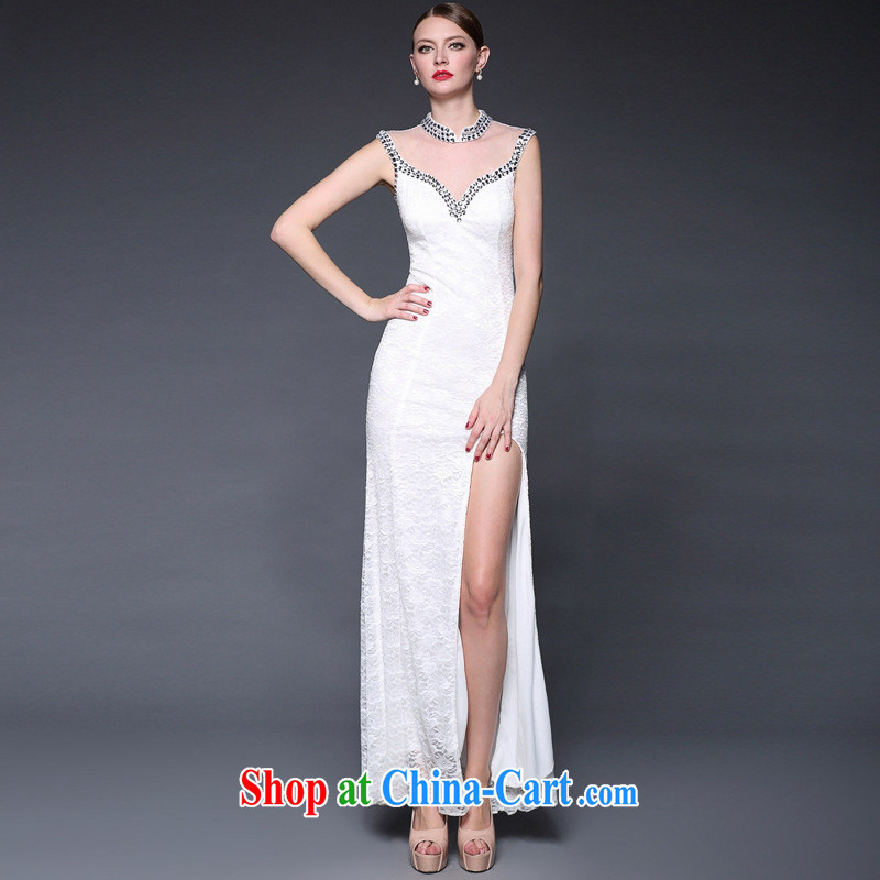 2015 new stitching lace manually staple Pearl dresses long, the forklift truck beauty dress dresses W 0143 black are code