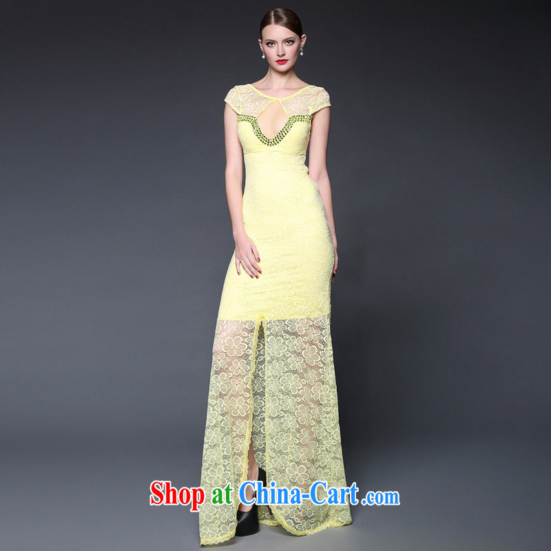 2015 Summer in Europe and the new dress lace stitching staples Pearl long sexy dress dresses W 0230 yellow are code