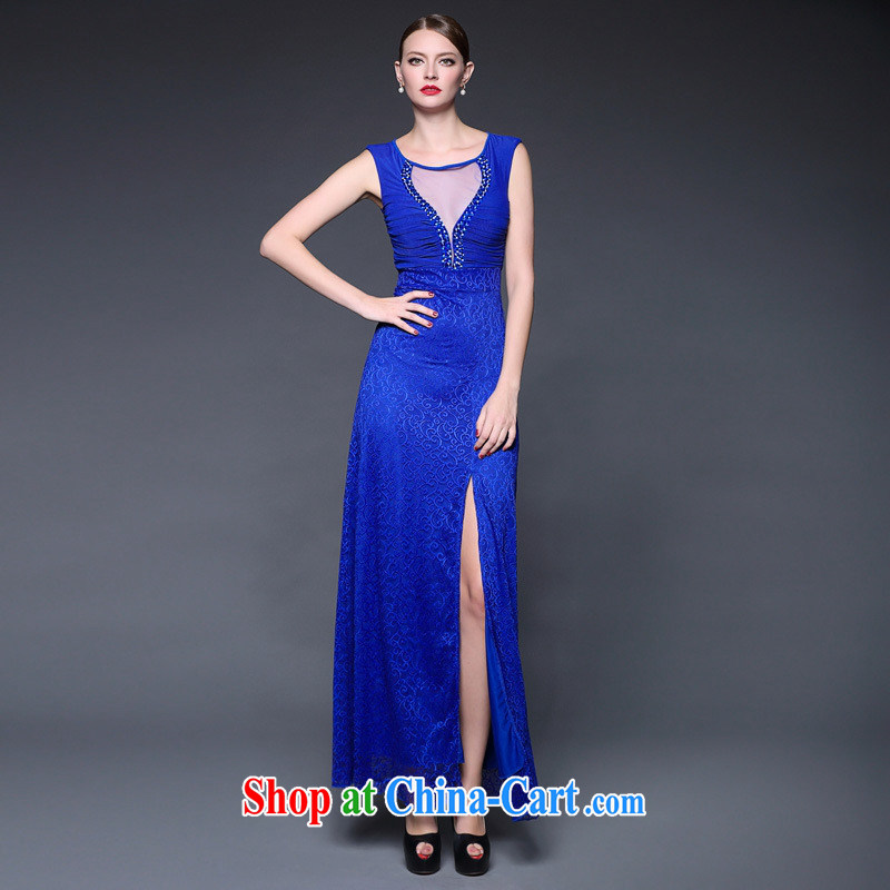 Summer 2015 New Products lace spell took over the nail Pearl Web yarn micro perspective dress dresses W 0215 blue are code