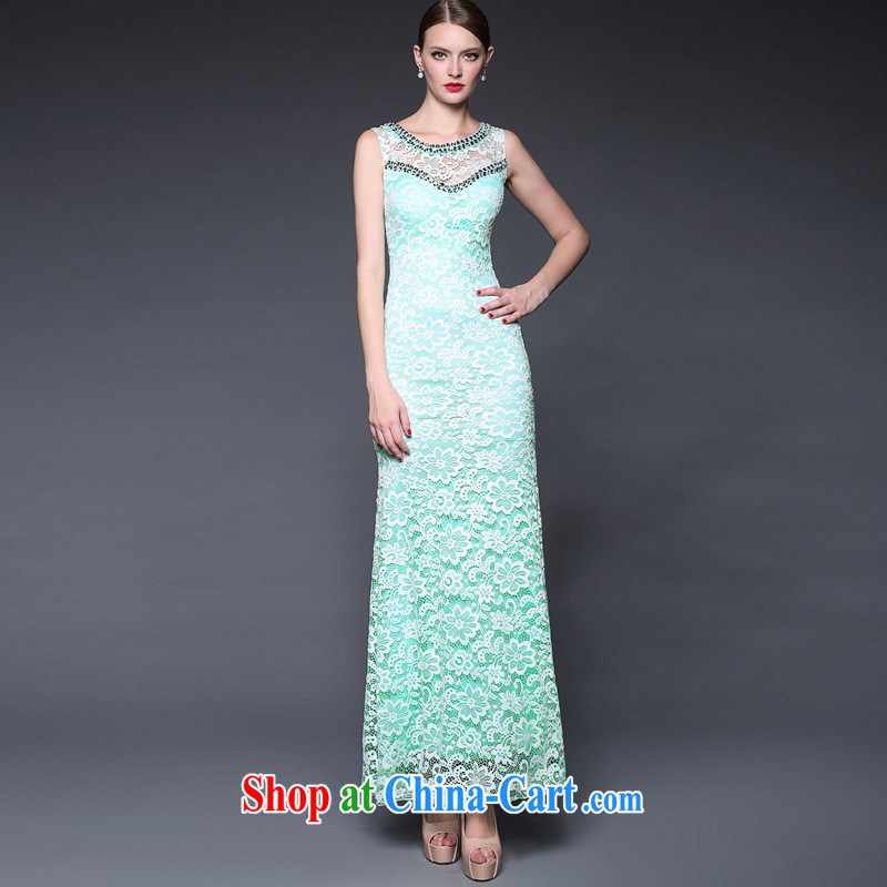 Summer women in Europe and America 2015 new manual staple Pearl aura of Yuan beauty dress dresses W 0159 green is code