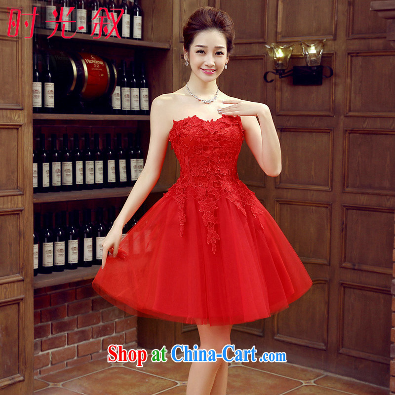 Time his bride short bows service 2015 new wedding dress spring and summer red code erase chest dress dress bridesmaid dress girls banquet dress red M