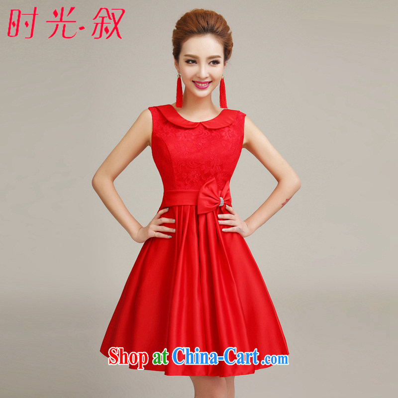 Syria Time 2015 new spring and summer evening dress bridesmaid clothing bridal toast serving short little red dress retro dresses bridesmaid dress red XXL