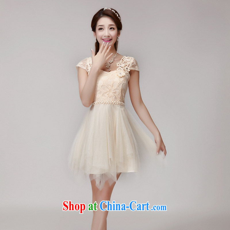 The Manchester Windsor summer 2015 hook bud, manually set drill gems of Yuan Princess elasticated waist dress dress apricot L