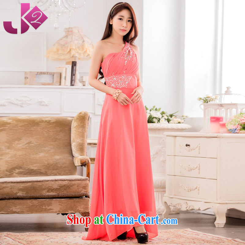 JK 2. YY high-end atmosphere dinner show the long dress single shoulder manually staple snow Pearl woven dresses long skirt the Code Orange Code Number of weight for height as the advisory service