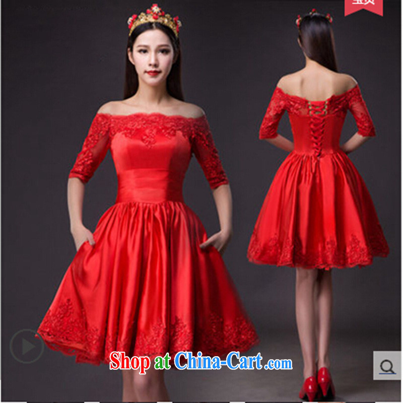 New Field in shoulder cuff dress short marriages, short banquet wine red evening dress pregnant women served toast Red. Do not return does not switch