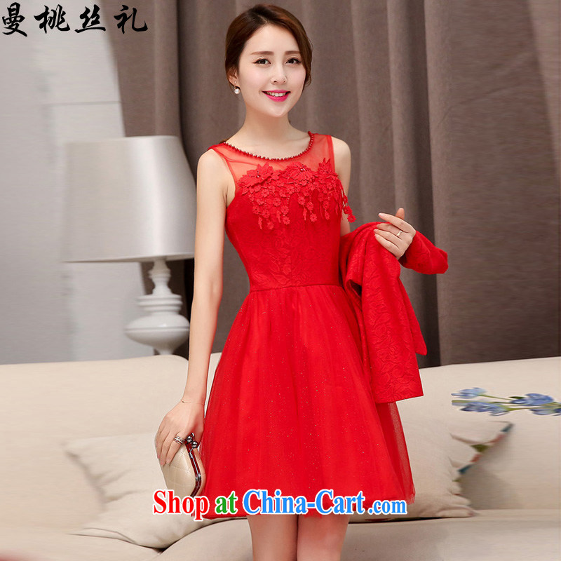 Cayman business, Gift wedding dress girls summer 2015 with new Korean fashion beauty style two-piece bridal gown back door toast bridesmaid with two-piece dresses red XXL