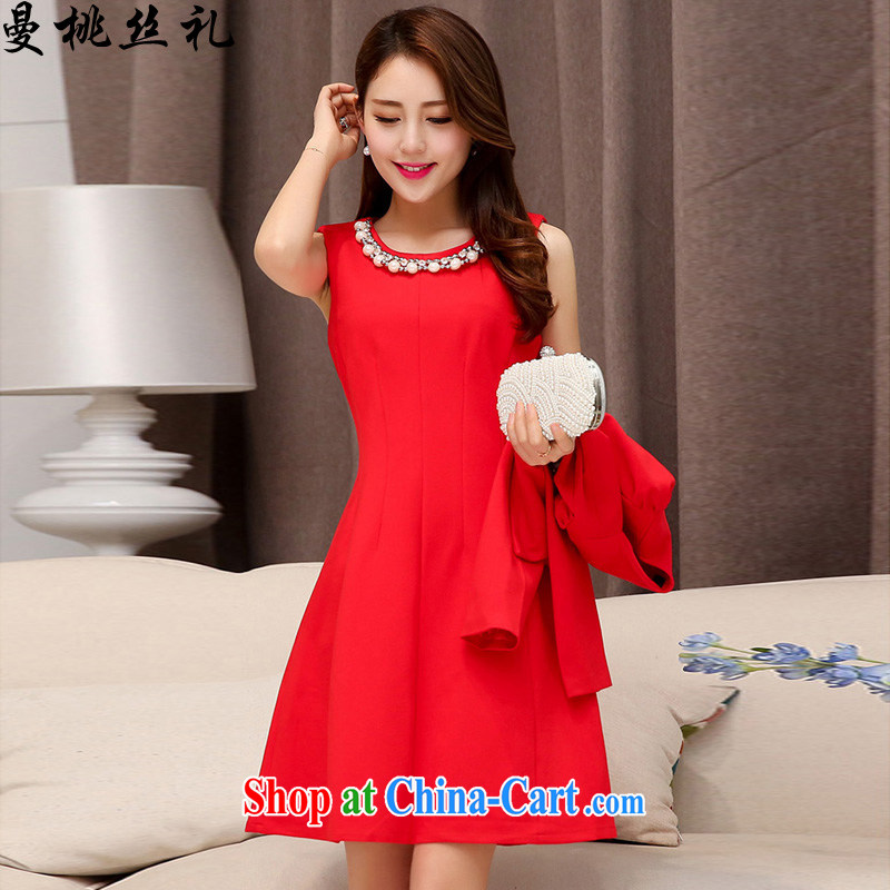 Cayman business, Gift wedding dress women's clothing 2015 summer new stylish two-piece necklace dresses bridal gown back door toast bridesmaid fitted dresses female Red XL