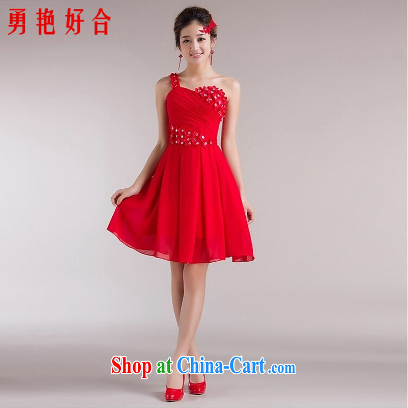 Yong-yan and 2015 new bride wedding dresses evening dress uniform toast, long red uniforms, shoulder bows dress red short. size color will not be returned.