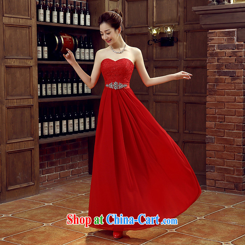 Large red bridal bridesmaid wedding dress wedding toast service wedding Evening Dress long bridal with 2015 new XXL