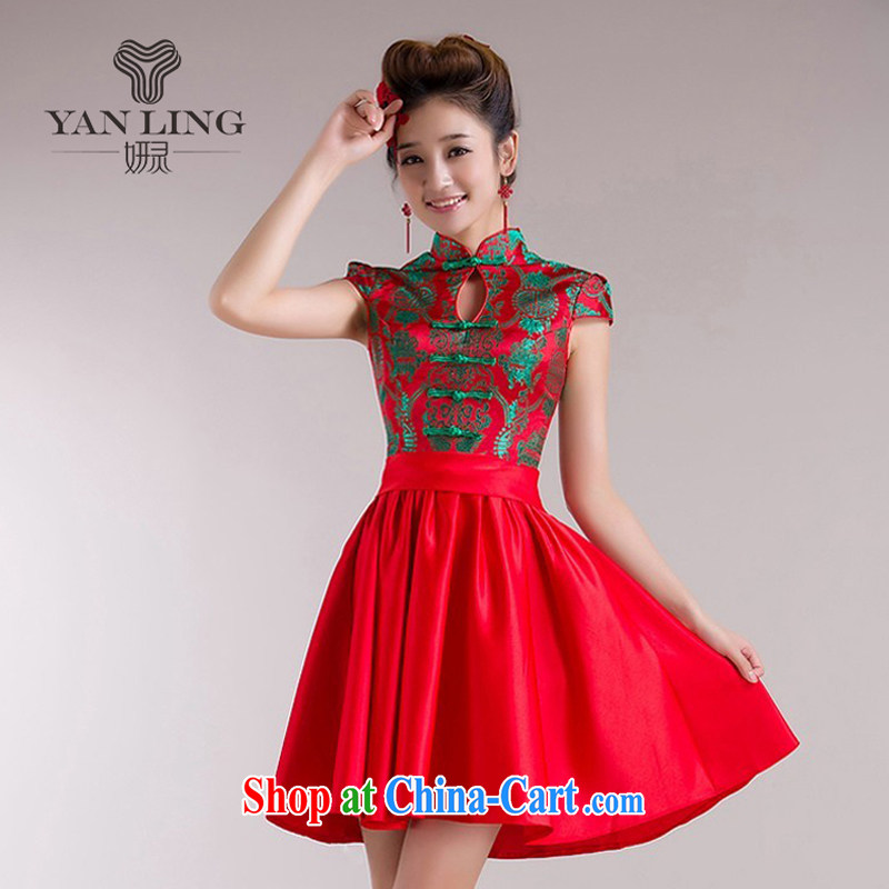 2015 new dress short Chinese wind red toast serving summer uniforms back doors 72 dresses XXL