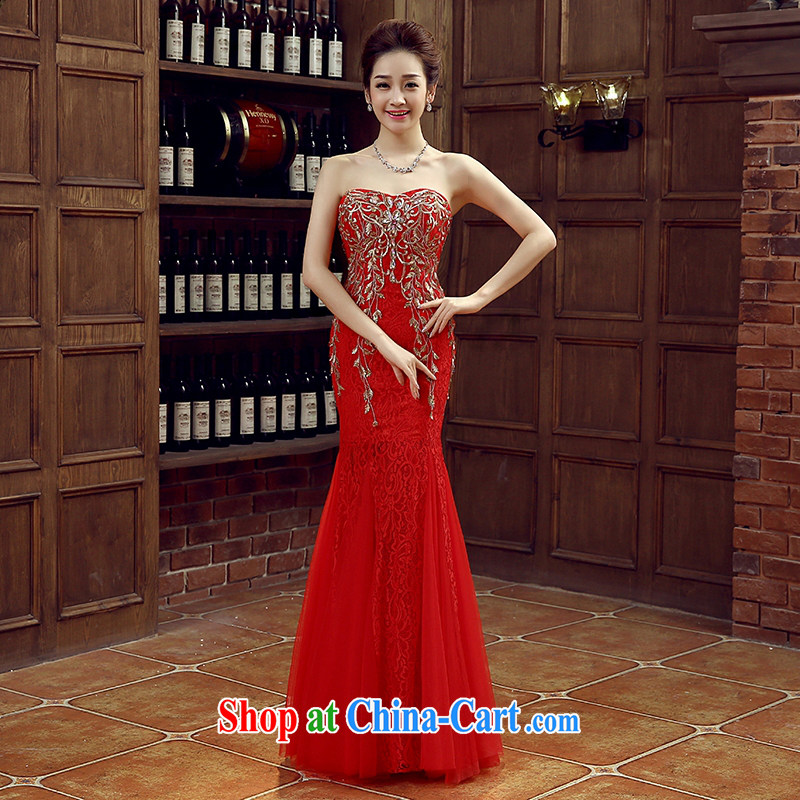 Red bridal bridesmaid wedding dress wedding toast service wedding Evening Dress long bridal with 2015 new XXL