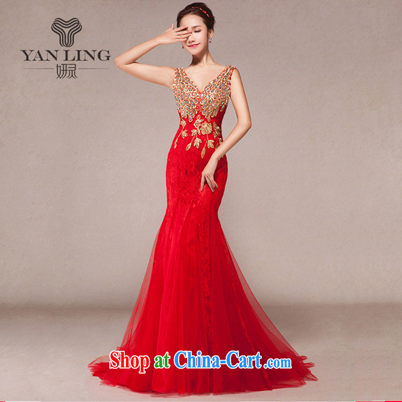 Evening Dress 2015 new toast Service Annual Spring dresses shoulders cultivating crowsfoot marriages long dress XXL