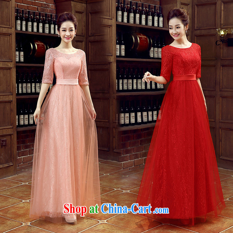 Pink bridal bridesmaid wedding dress wedding toast serving double-shoulder Evening Dress long bridal with 2015 New Red XL