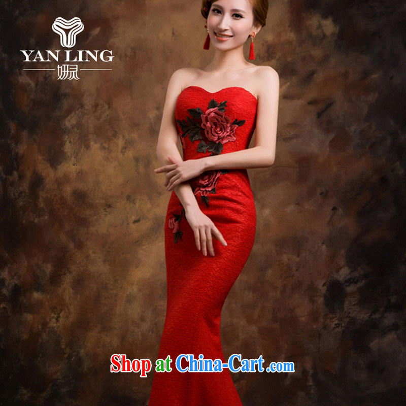Red wedding dresses bridal toast serving evening dress new 2015 crowsfoot wedding betrothal wedding dress female XXL