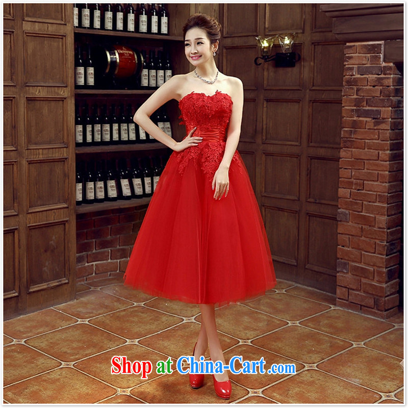 bridal dresses wedding bows new marriage, stylish red dress girls dress short banquet spring and summer XXL