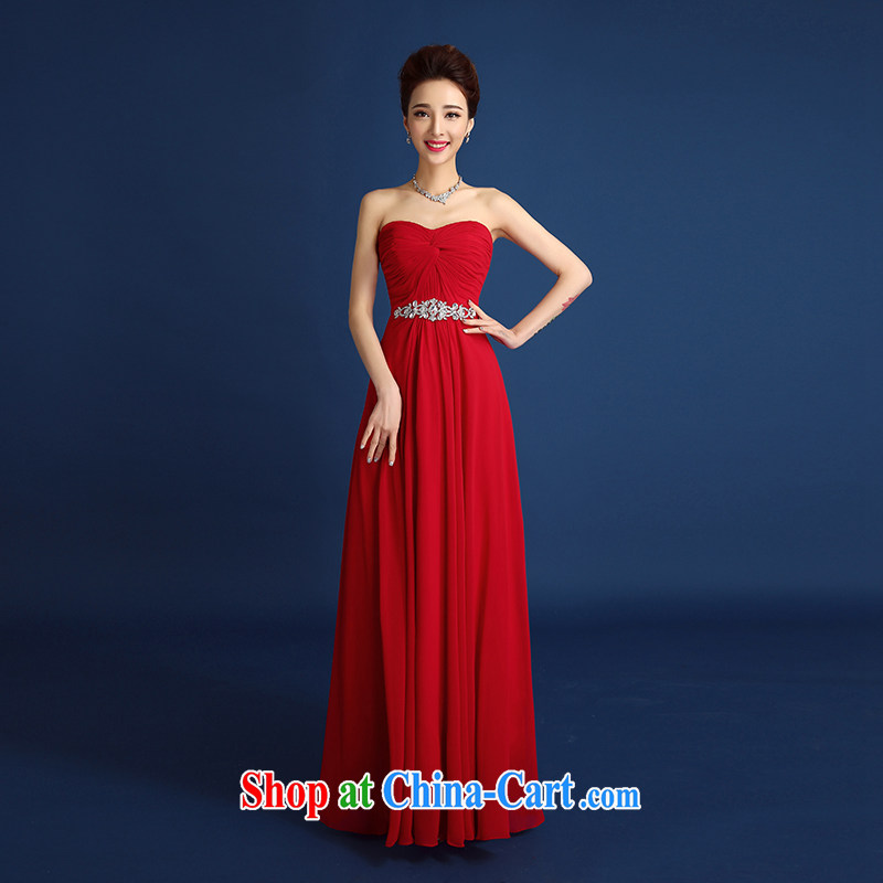 2015 new bride wedding dress toast clothing spring and summer red wiped his chest wrinkles parquet drill dress female long bridal wedding banquet dress dark red XXL