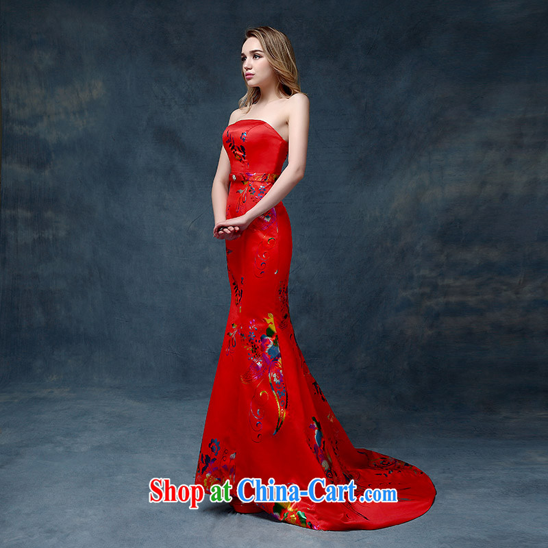 Wedding toast wiped his chest crowsfoot wedding dresses Evening Dress 2015 New red long cultivating graphics thin red XL