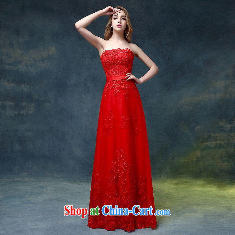 wedding dresses 2015 new stylish erase chest red tail crowsfoot toast Service Bridal dress wedding banquet red XL