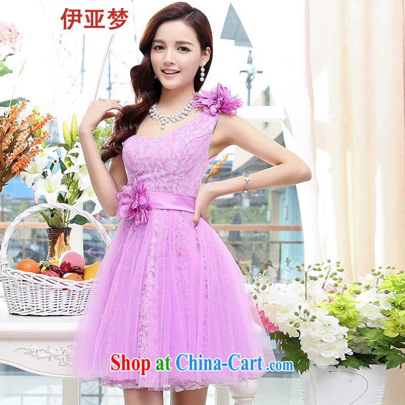 Bahia dream 2015 erase chest wedding bridesmaid dress Dinner served toast Stage service shaggy Web yarn short bows dress M 558 purple XL
