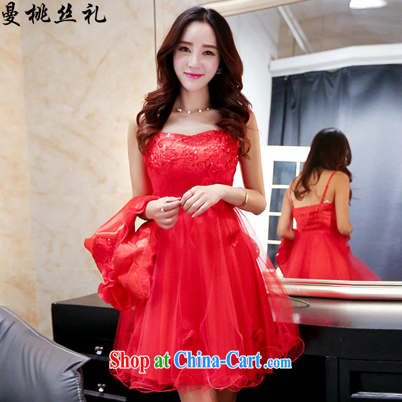Cayman commercial silk dresses, two-piece dresses wedding dresses 2015 summer new stylish atmosphere. Two-piece bridal wedding dress red XXXL