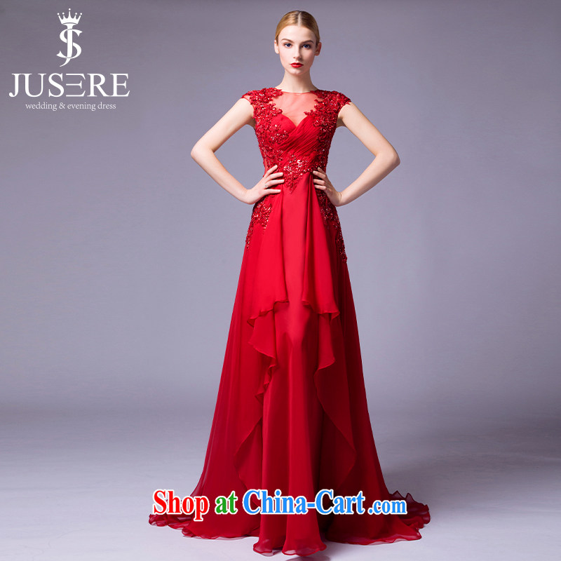 It is not the JUSERE high-end wedding dresses wine red royal blue name-yuan toast dress uniform dress uniform concert hosted service double-shoulder-neck collar V antique Openwork red 8