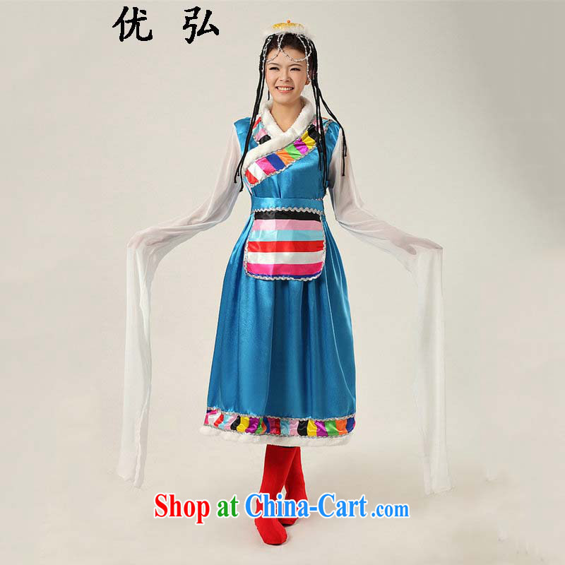Optimize Hong 2015 new national costumes youth beautiful long-sleeved Tibetan clothing stage performances with ycf serving 001 blue XXL