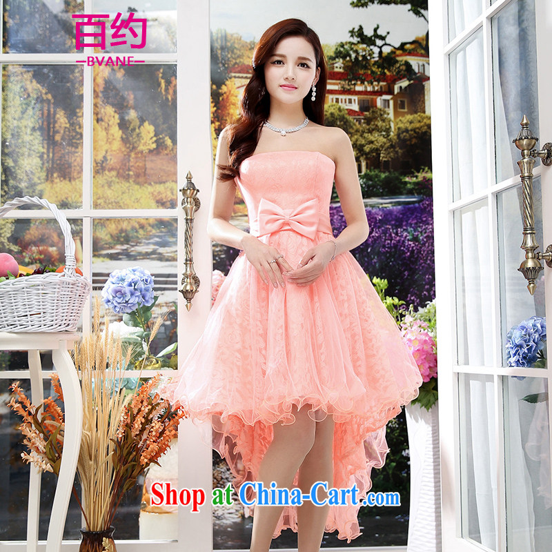 100 about 2015 new stylish bridal toast clothing bridesmaid sister's small dress long lace bare chest dress beauty dress pink (the silk scarf) S