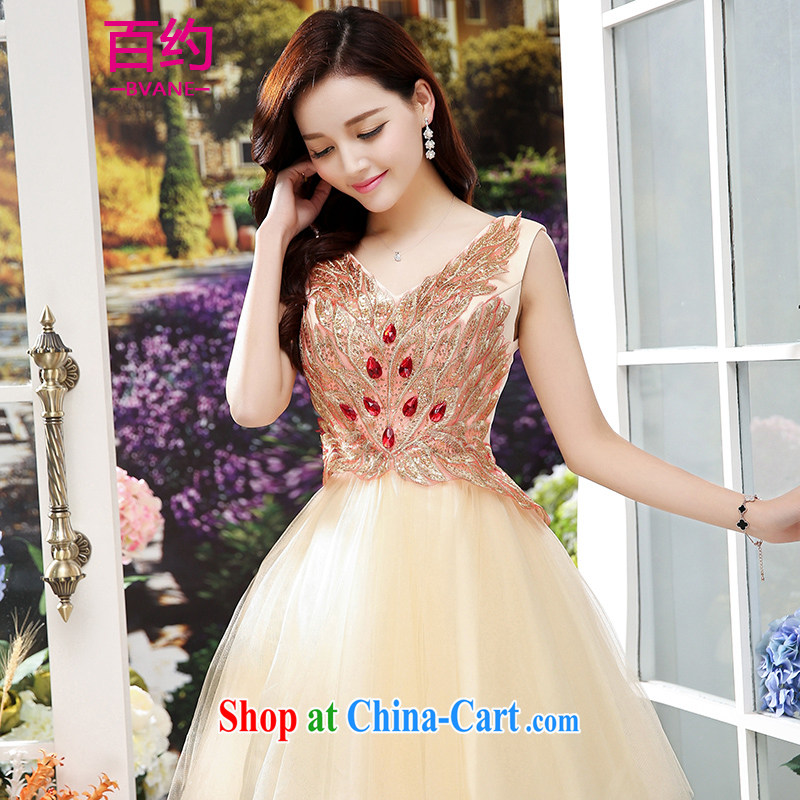 100 about 2015 new stylish bridal toast clothing spring and summer new short banquet beauty bridesmaid dress the Show dress apricot _the silk scarf_ XXL