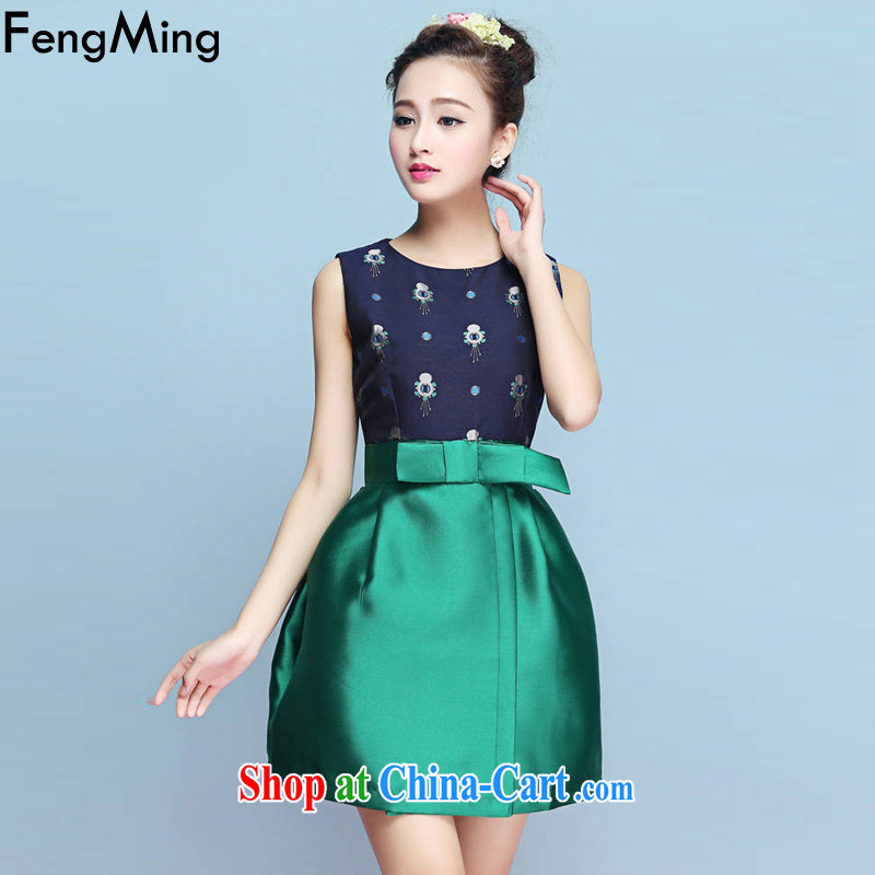 Abundant Ming bowtie beauty dress vest dresses 2015 spring and summer new Princess shaggy dress green XL