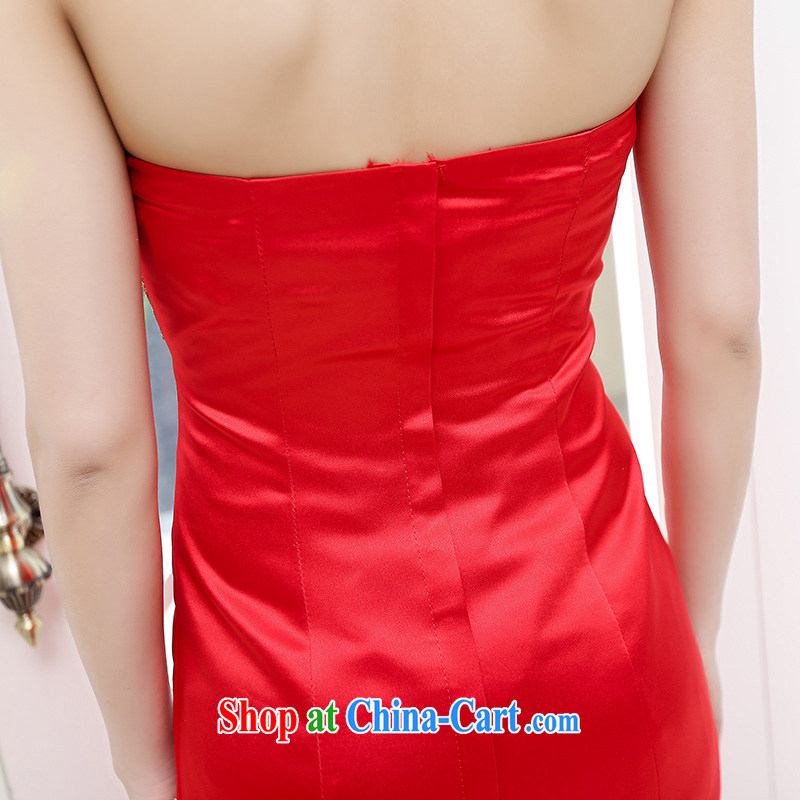 The world 2015 new bride bows new 2015, long stylish erase chest dress crowsfoot cultivating the annual meeting banquet dress 1550 red L to world, shopping on the Internet