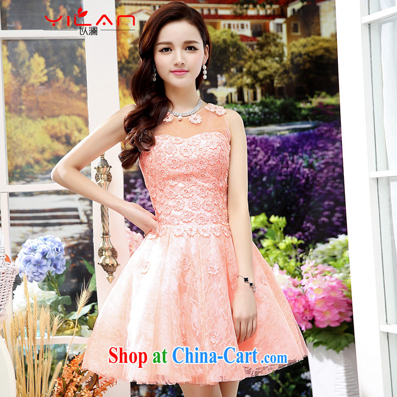 The world 2014 New Name-yuan Hong Kong small wind short-sleeved cultivating good wedding A Field dresses wedding dress 1551 pink S