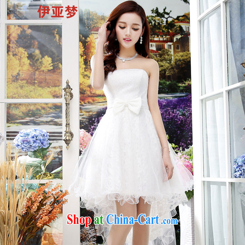 The dream in the 2015 spring and summer new women who decorated sexy bowtie lace bare chest dresses small dress girls white XL