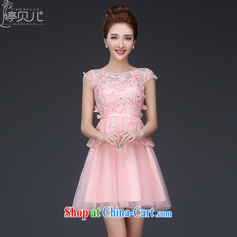 Ting Beverly bridesmaid clothing, bridal toast serving New 2015 wedding dress marriage short summer field shoulder dress girls banquet Pink Pink XXL