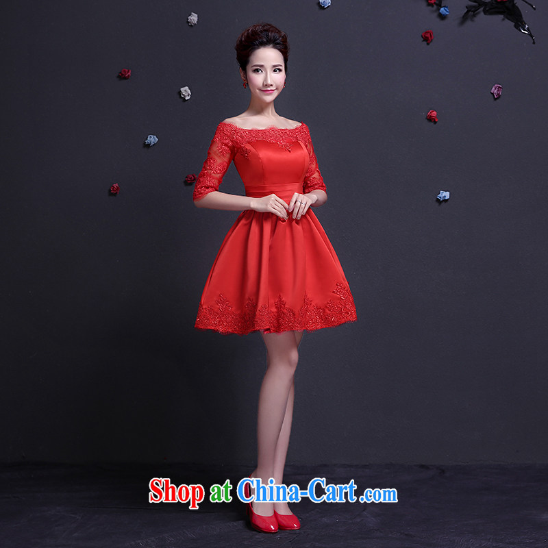 The woman bows Service Bridal 2015 spring short red dress, married a field in shoulder cuff pocket dress, short dress beauty graphics thin red XXL