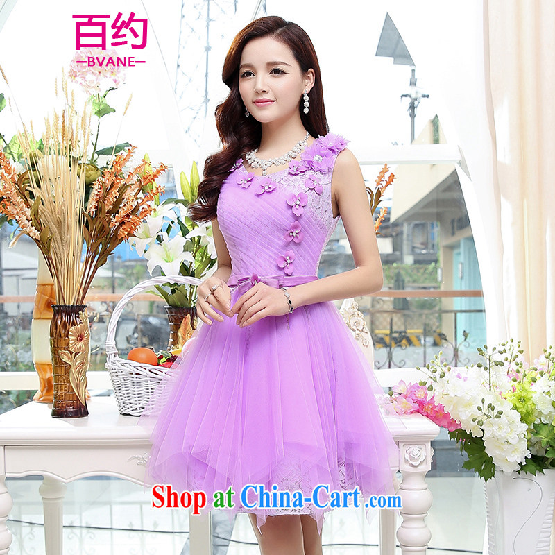 100 about 2015 new stylish bridal toast clothing spring and summer wedding beauty wedding dresses bridesmaid's dress pregnant women small dress purple (the silk scarf) XL