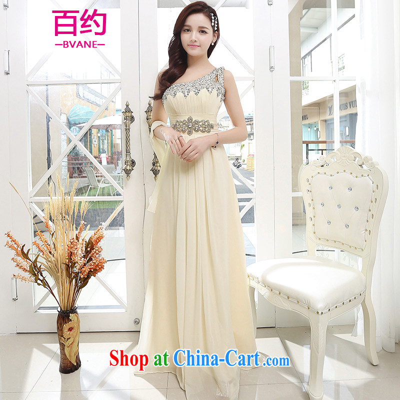 About 100 2015 stylish upmarket big bridal toast serving New betrothal wedding dress the dinner show service beauty long dresses apricot (the silk scarf) XL