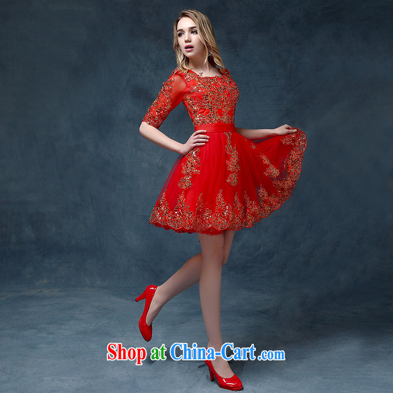 According to Lin Windsor wedding dress summer 2015 new marriage bows dress long, bright red banquet theater stage spring and summer dresses red XL