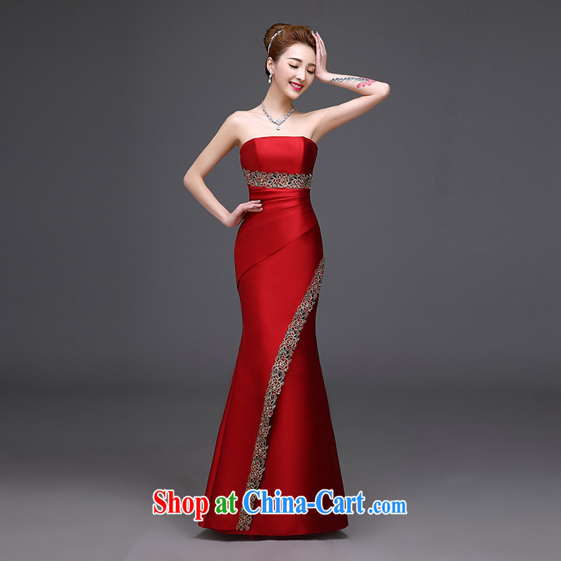 Toasting Service Bridal Fashion 2015 new summer red marriage duration, chest bare the betrothal marriage high-end dinner dress pleasant bridal red wiped his chest long L