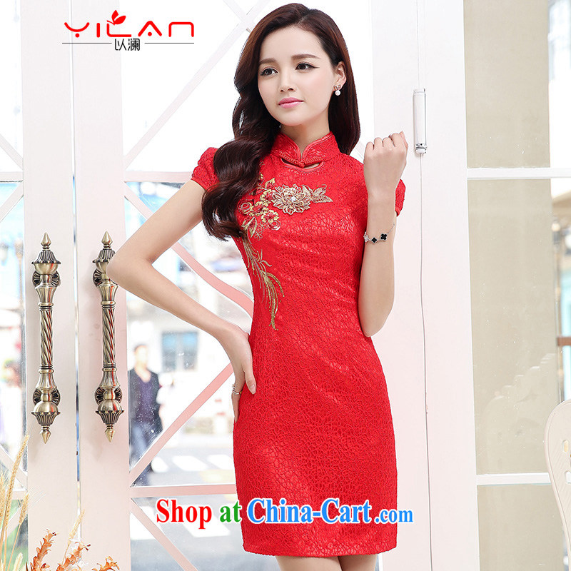 A world of door bridal wedding dresses wedding dresses new summer uniforms toast short cheongsam 1553 red XL